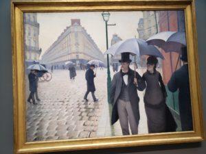 ギュスターヴ・カイユボット「パリの通り、雨」